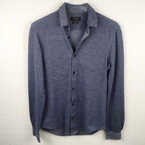Zara Man Blue Dotted Long Sleeve Button Down Shirt